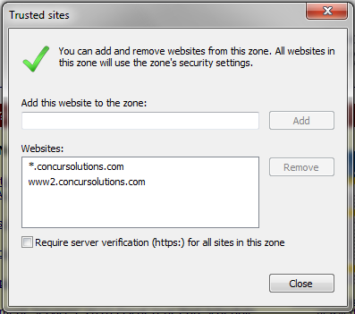 Trusted Sites dialog box